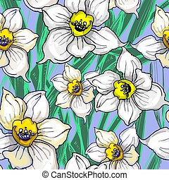 Botanical seamless pattern with inflorescences of flowers daffodils