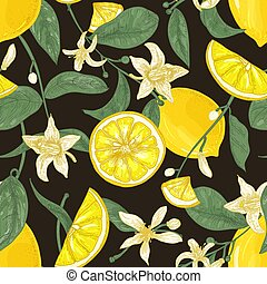 Botanical seamless pattern with lemons, whole and cut into pieces, branches with flowers and leaves on black background. Backdrop with citrus fruits. Elegant vector illustration for textile print.
