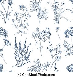 Botanical seamless pattern with meadow herbs, flowering plants and blooming wild flowers hand drawn with blue lines on white background. Natural vector illustration in vintage style for fabric print.