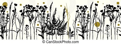 Botanical seamless pattern with plant elements on white