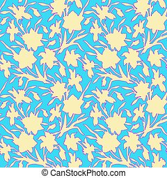 Botanical seamless pattern with silhouettes hand drawn flowers daffodils