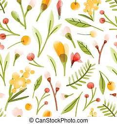 Botanical seamless pattern with translucent blooming summer flowers, berries, leaves scattered on white background. Motley romantic vector illustration for wrapping paper, wallpaper, fabric print.