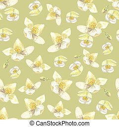 Botanical watercolor seamless pattern. Flowers and buds of...