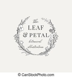 Botanical Wreath Illustration Premade logo - Botanical...