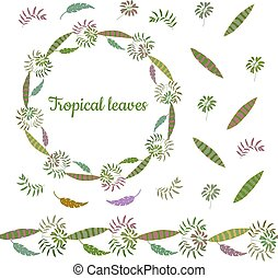 Botanical wreath made from different leaves of tropical plants. Endless horizontal brush. Seamless horizontal border.