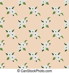 botanico, pianta, fiore, foglia, fondo, colorito, cornus, immagine, florida, seamless, dogwood, bianco