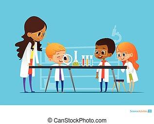 botanika, to, education., przez, samica, oświatowy, demonstruje, nauki, website., działalność, roślina, ilustracja, podczas, nauczyciel, preschool, dzieciaki, spojrzenie kasownika, kolba, wektor, szkło powiększające, lesson.
