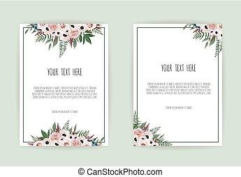 botanikai, esküvő invitation, kártya, sablon, tervezés, fehér, és, rózsaszínű virág, white, háttér.