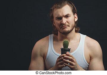 botanique, barbu, sportif, tenant mains, cactus