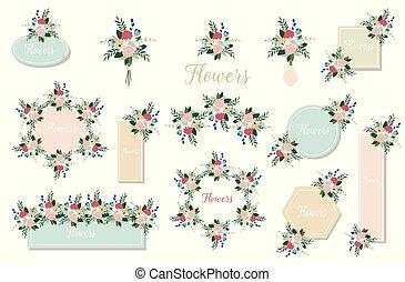 botanique, branch., joker, leaves., invite., mariage, floral, ensemble, fleurs, rose, vert, flowers., affiche, rose, concept