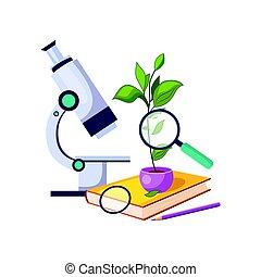 botanique, plante, ensemble, école, coloré, education, style, apparenté, kit, microscope, objets, pot, dessin animé