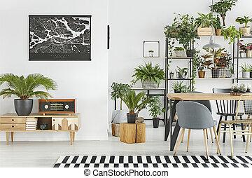 botanique, salle manger, intérieur