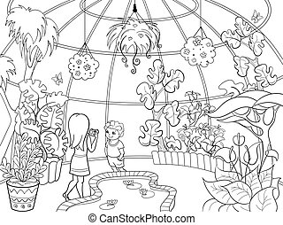 botanischer garten, karikatur, vektor, abbildung