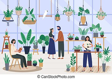 Botanist greenhouse. Planting houseplant, grow plants and ...