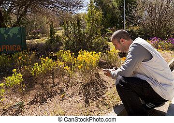 Botanist taking notes