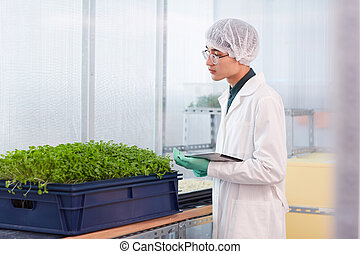 botaniste, travail, utilisation, pc, tablette