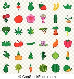 Botany icons set, cartoon style