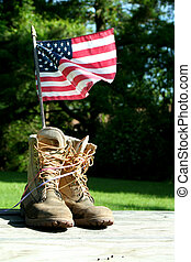 botas, com, bandeira e. u.