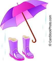 botas de lluvia, y, paraguas