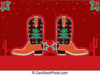 botas de vaquero, decoración, feriado, tarjeta de navidad