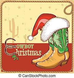 botas de vaquero, norteamericano, santa sombrero, tarjeta de navidad