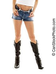 botas de vaquero, y, pantalones cortos de mezclilla, #2