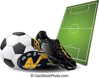 botas fútbol, y, pelota