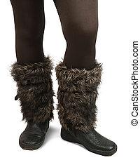 botas, pele, wintry, pés, mulher