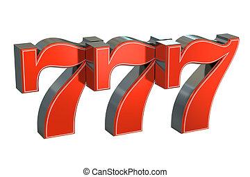 bote, 777, afortunado, símbolo, interpretación, 3d
