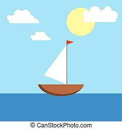 bote, com, um, vela, mar, sol, e, clouds.
