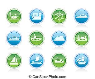 bote, diferente, navio, tipos
