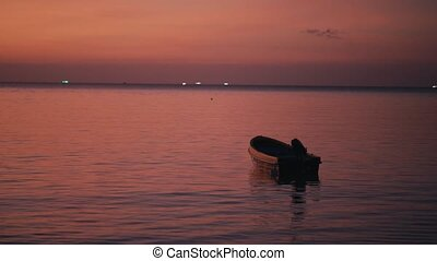 bote, drifting, pôr do sol