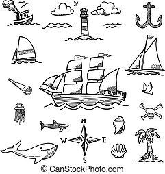 bote, e, mar, hand-drawn, doodles