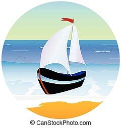 bote, e, praia, caricatura, vetorial, ilustração