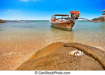 bote, em, um, baía