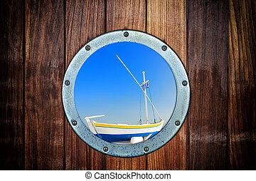 bote, fechado, porthole