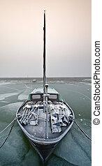 bote, gelado, inverno, velejando, dia