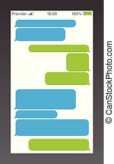 bote, kurz, nachricht, service, bubbles., text, unterhaltung, sms, boxes., leerer , messaging, bubles, template.