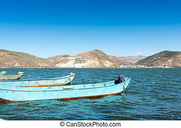 bote, lago montanha, pequeno