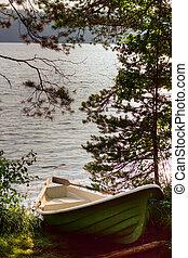 bote, ligado, a, lago