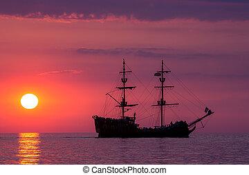 bote, ligado, a, mar, em, pôr do sol, em, mar báltico,...