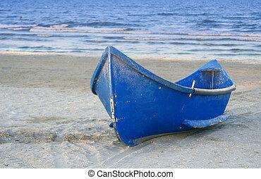 bote, ligado, um, praia