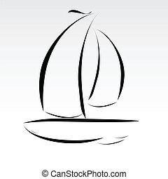 bote, linhas, ilustração