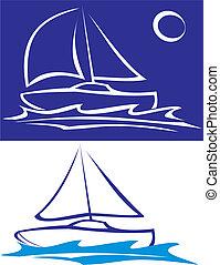 bote, -, mar, velejando