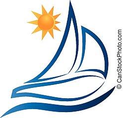 bote, ondas, e, sol, logotipo, vetorial