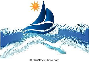 bote, ondas, sol, oceânicos, praia, quadro