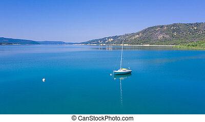 bote, ou, mar, lago
