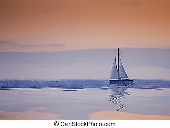 bote, pôr do sol, mar, velejando