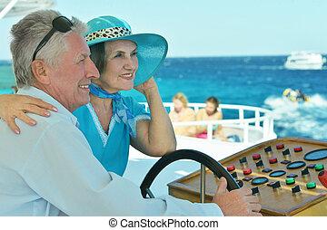 bote, par, aposentado, passeio, mar