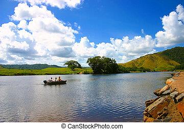 bote, pesca, paisagem